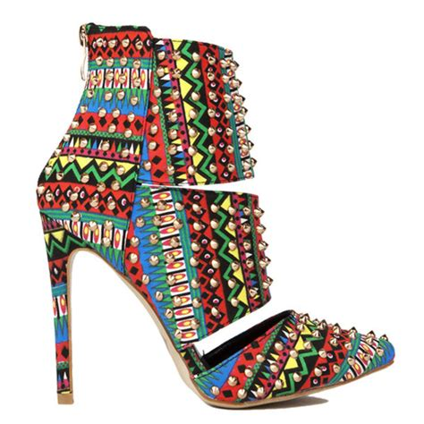 tribal pattern boots shoes boots studded booties ankle boots tribal pattern