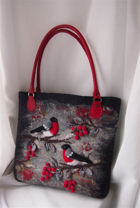 Wool Purses Handmade - felted bag felted handbag bullfinches felted wool purse felted