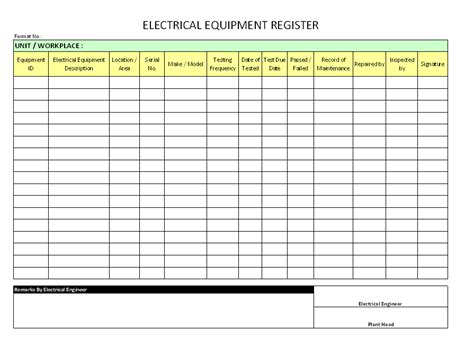 electrical equipment register format sles word