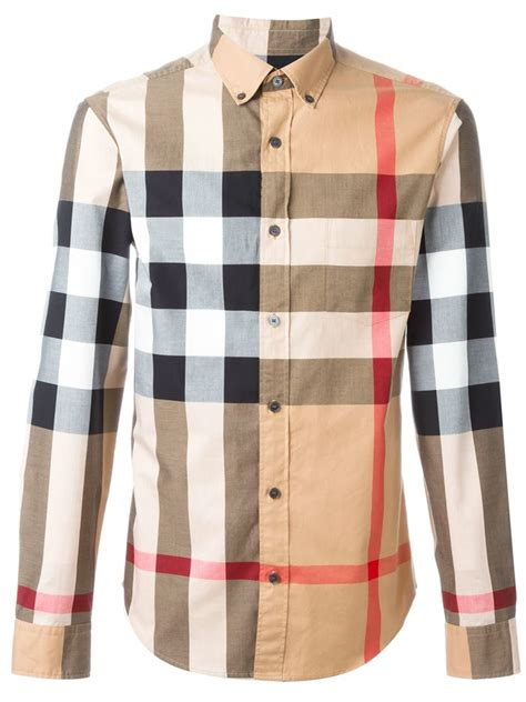 burberry checked shirt in brown for lyst