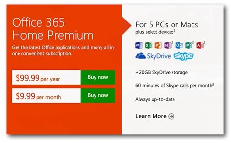 Office 365 Subscription Microsoft Launches Office 365 Subscriptions For Windows