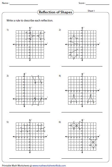 Reflection Worksheet Answers by Reflection Worksheets