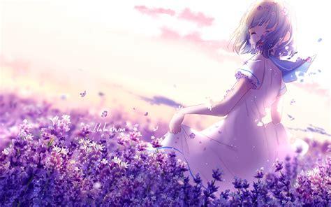 wallpaper anime girl lavender flowers purple spring