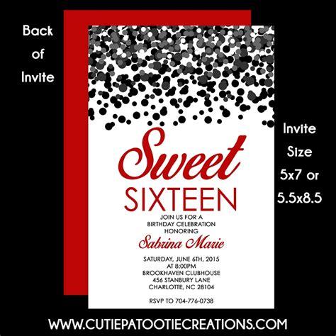 black and white 16th birthday invitations printable sweet 16 invitation orderecigsjuice info