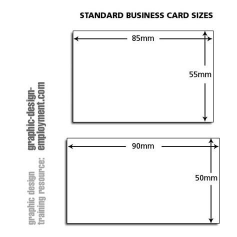 Biz Card Size Template by Business Card Standard Sizes