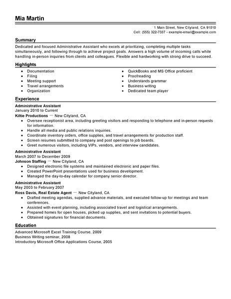 resume format for office assistant administrative assistant resume exle free admin