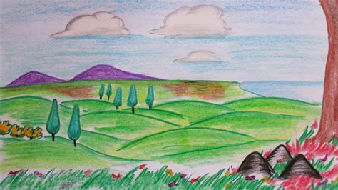How To Draw A Hillside how to draw hillside from distance a colorful landscape