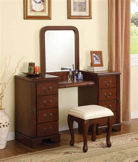 3pcs acme louis philippe cherry vanity set modern
