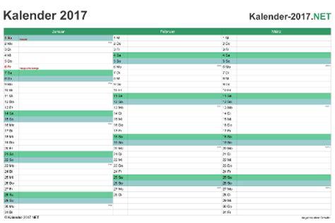 Vierteljahres Kalender 2016 Kalender 2017 Mit Feiertagen Ferien