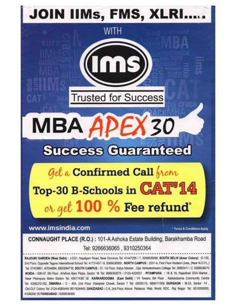 Mba Admission Coaching Nyc by Ims Brochure For Coaching In Cat Mba Admissions