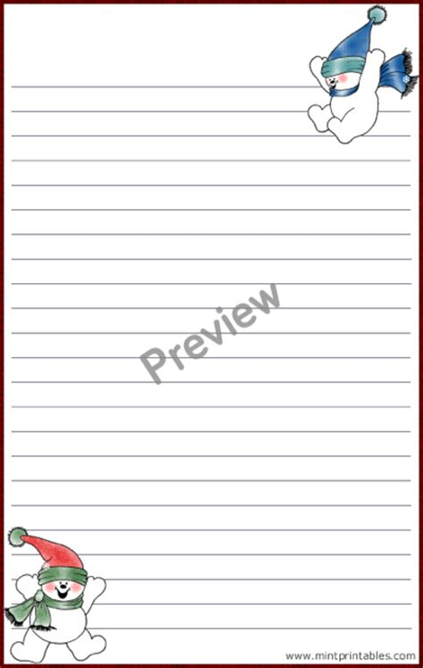 printable snowman stationery printable snowmen stationery set with matching envelope