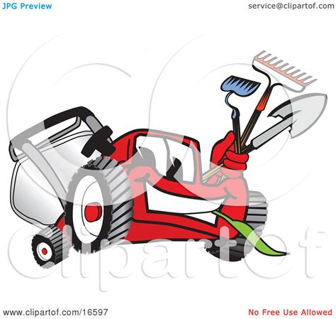 clipart picture of a red lawn mower mascot cartoon