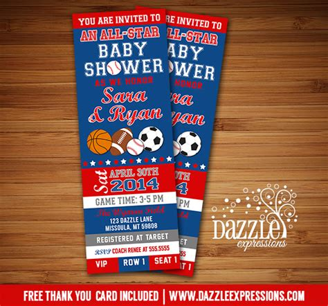 Printable All Star Sports Ticket Baby Shower Invitation Soccer Basketball Football Baseball Baby Shower Ticket Invitation Template