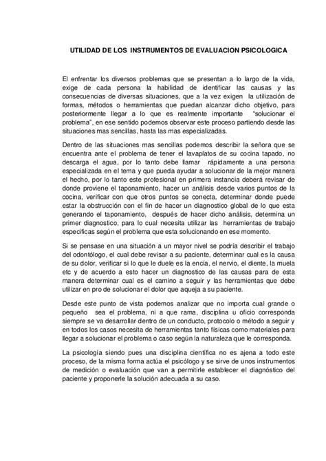 ensayo expositivo de psicologia ensayo utilidad de los instrumentos de evaluacion psicologica