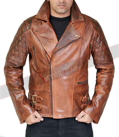 mens leather biker jacket mens vintage cafe racer brown leather motorcycle jacket