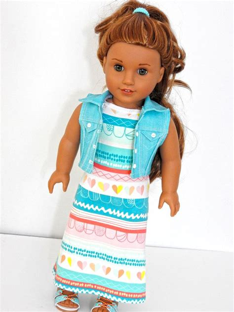 Doll Maxi 18 inch doll maxi dress cropped denim vest ag doll maxi dress handmade doll maxi dress fits