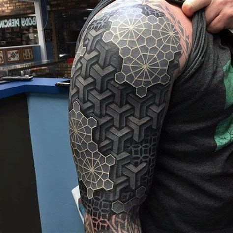 3d sleeve tattoos for men mens arms black and white 3d blocks