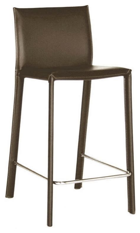 Baxton Studio Counter Stool by Baxton Studio Brown Leather Counter Stool Transitional