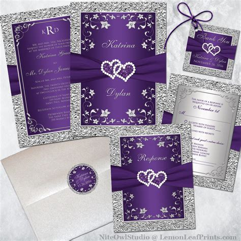Wedding Invitations Purple by Purple Silver Wedding Invitation Set Joined Hearts