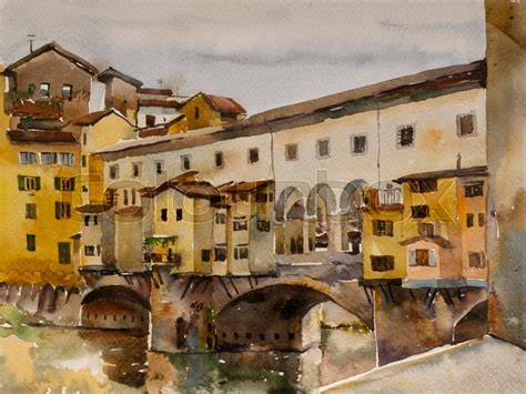 houses over water on ponte vecchio florence italy stock photo royalty free image 74147998 alamy watercolor cityscape with ponte vecchio bridge with arno