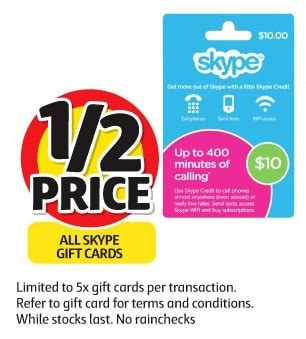 50 Percent Off Gift Cards - expired get 50 off skype gift cards this week at coles gift cards on sale