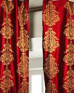 Curtains Drapes Window Treatments Ds Faux Silk Red Gold Crewel Embroidered Lined Curtains