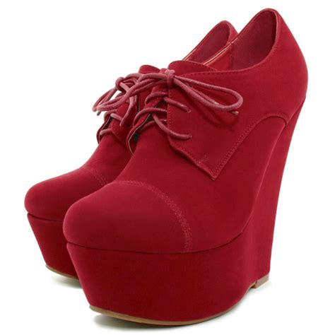 buy wedge heel suede style lace up platform ankle boots