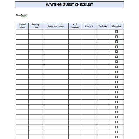 restaurant waiting list template microsoft word templates