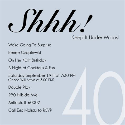 40th birthday invitation exle 40th invitation template free