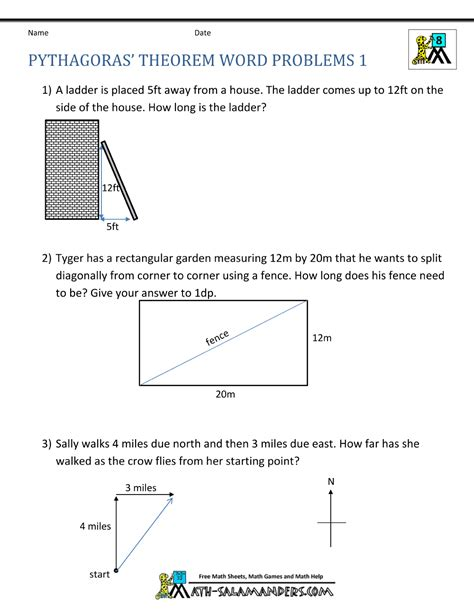 Pythagorean Theorem Word Problems Worksheet pythagoras theorem questions