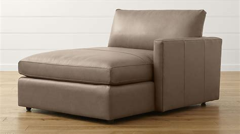 leather chaise lounge with arms lounge ii leather right arm chaise lounge crate and barrel