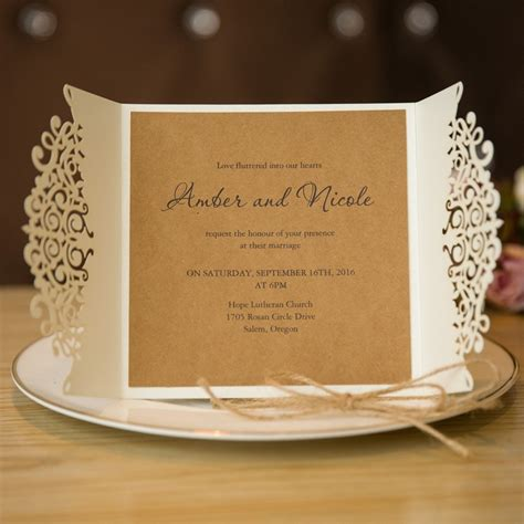 reception card template brown paper formal white laser cut wedding invitation cards with band