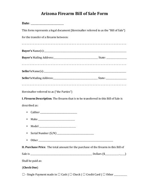 bill of sale form 2018 firearm bill of sale form fillable printable pdf