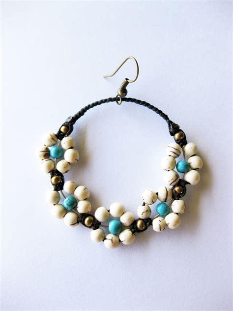 Handmade Jewelry Earrings - white or white blue flower earrings dangle
