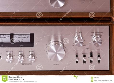 retro hi fi cabinet vintage hi fi stereo amplifier in wooden cabinet stock