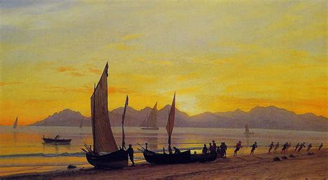 boat canvas ta boats ashore at sunset albert bierstadt wikiart org