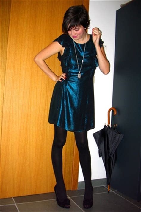 blue dresses black tights black shoes white sweaters merry christmas  annebeth chictopia