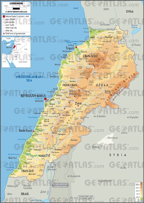 physical map of lebanon geoatlas countries lebanon map city illustrator