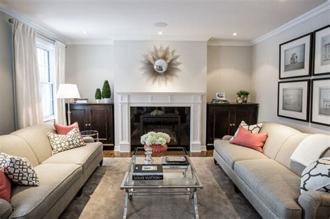 pop  coral transitional living room montreal
