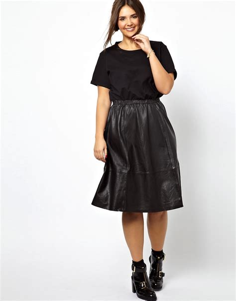 asos curve asos curve midi dress with leather skirt and