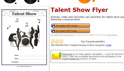 Free Printable Talent Show Flyer Template