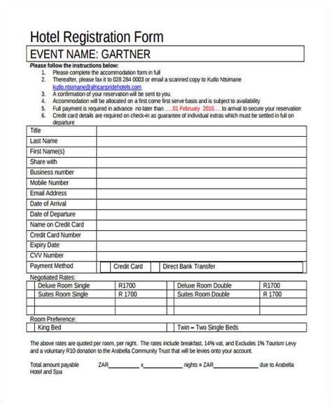 12 Hotel Registration Form Sles Hotel Guest Registration Form Template