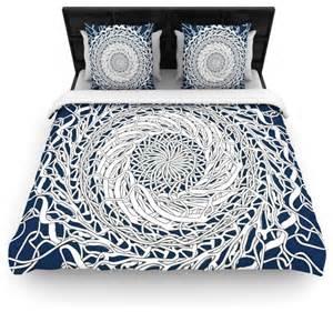 navy blue and white duvet cover patternmuse quot mandala spin navy quot blue white cotton duvet
