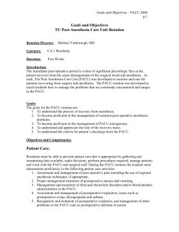 Brown S Regional Anesthesia Review Freesul 1 pacu goals and objectives iu anesthesia
