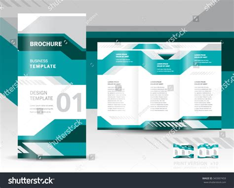 brochure design template vector tri fold geometric