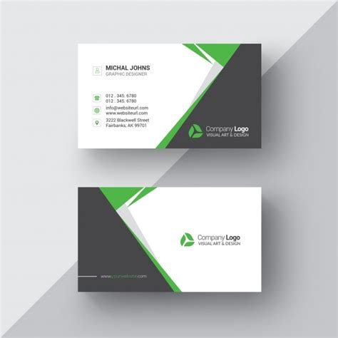 Green And White Business Card Template by Black And White Business Card With Green Details Psd File