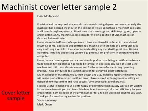 Cnc Machinist Cover Letter by Machinist Cover Letter
