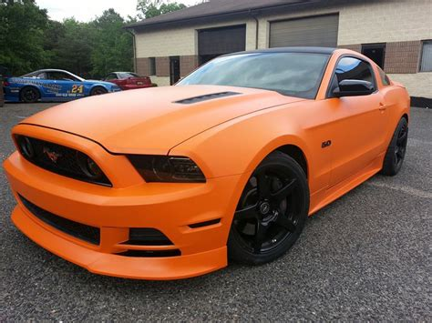 matte orange jeep matte orange mustang with black rims this is pretty sick