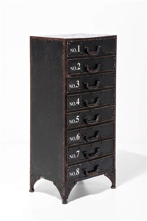 distressed metal drawer cabinet   love retro