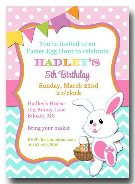 easter chevron polka dot invitation printable  printed
